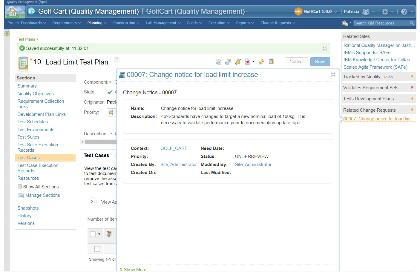Integrate PTC Windchill with Quality Management for Test Plan To Change Notice in PTC Windchill.