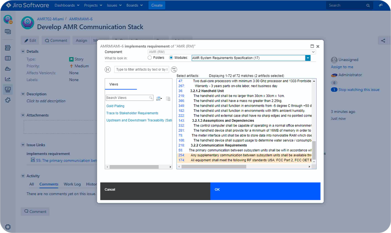 Manage DOORS Next requirements in Jira_Jira DOORS Next interation_OSLC Connect for Jira_SodiusWillert_1
